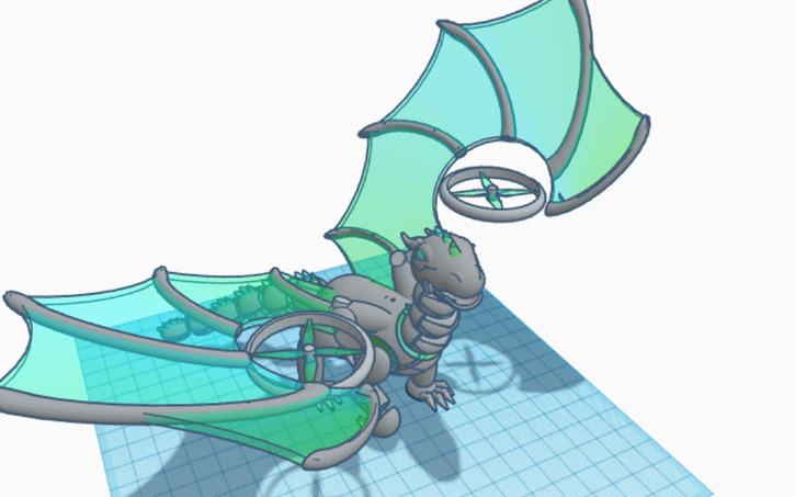 3d design robotic dragon tinkercad