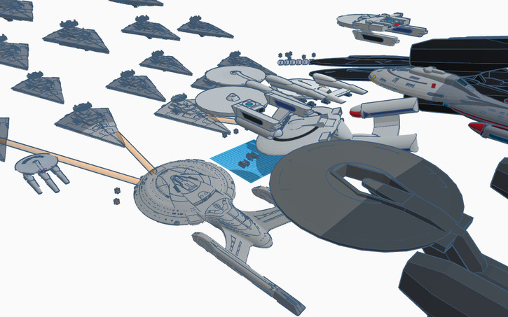 3D design star trek United Federation of Planets VS  star wars